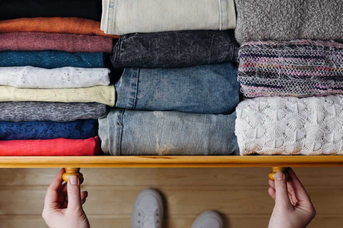 Organized clothes in drawer