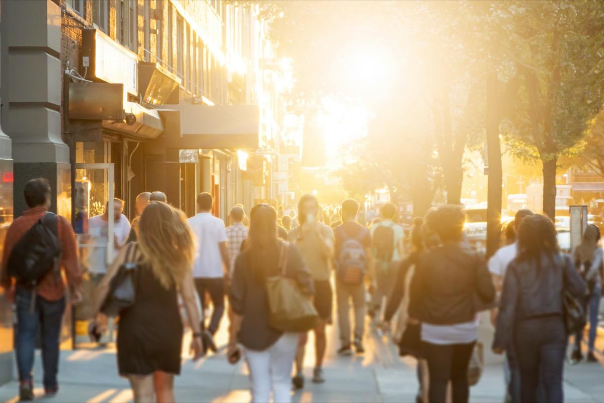 Downtown Manhattan sidewalk