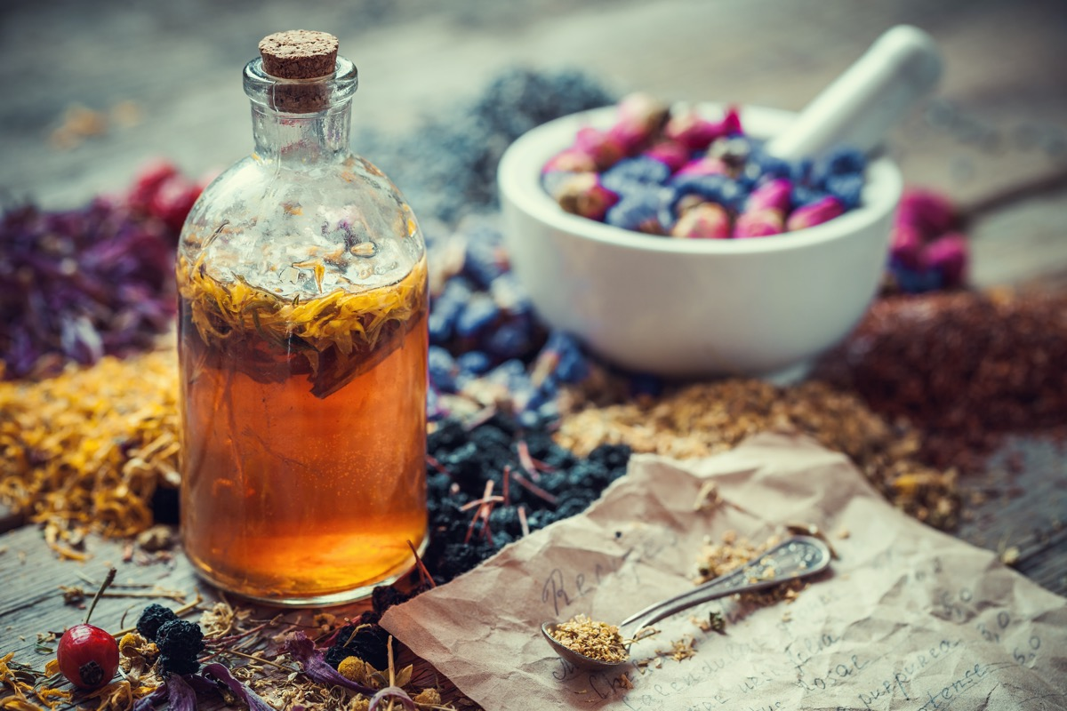 Herbal medicine elixir bottle