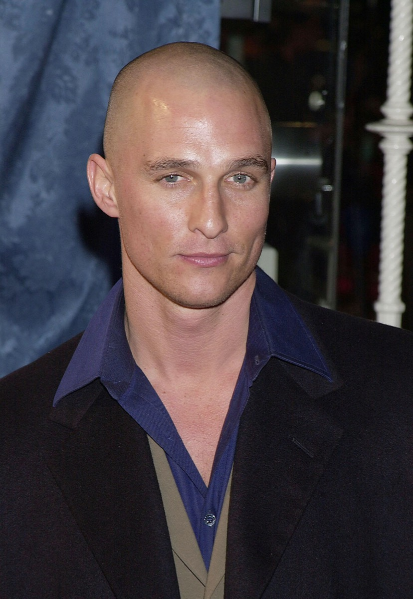 Matthew McConaughey with shaved head in 2000