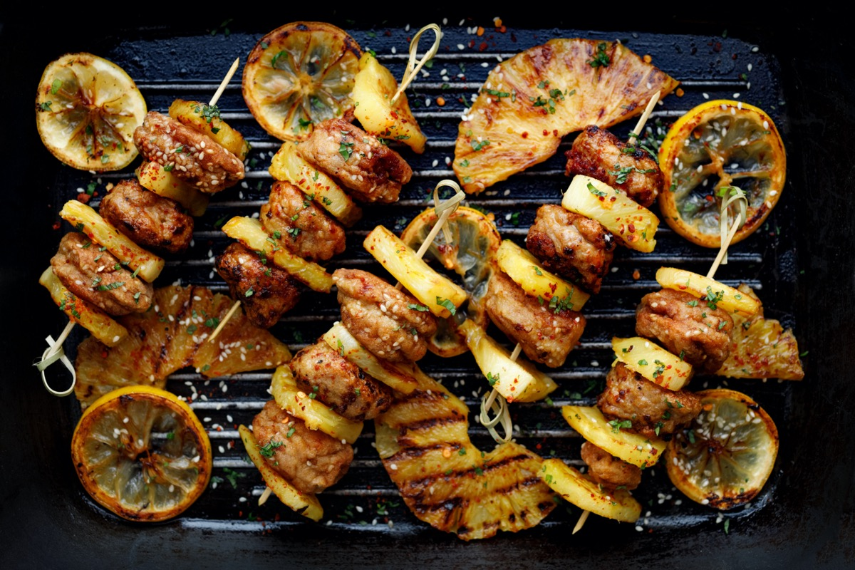 Pineapple meat kabobs