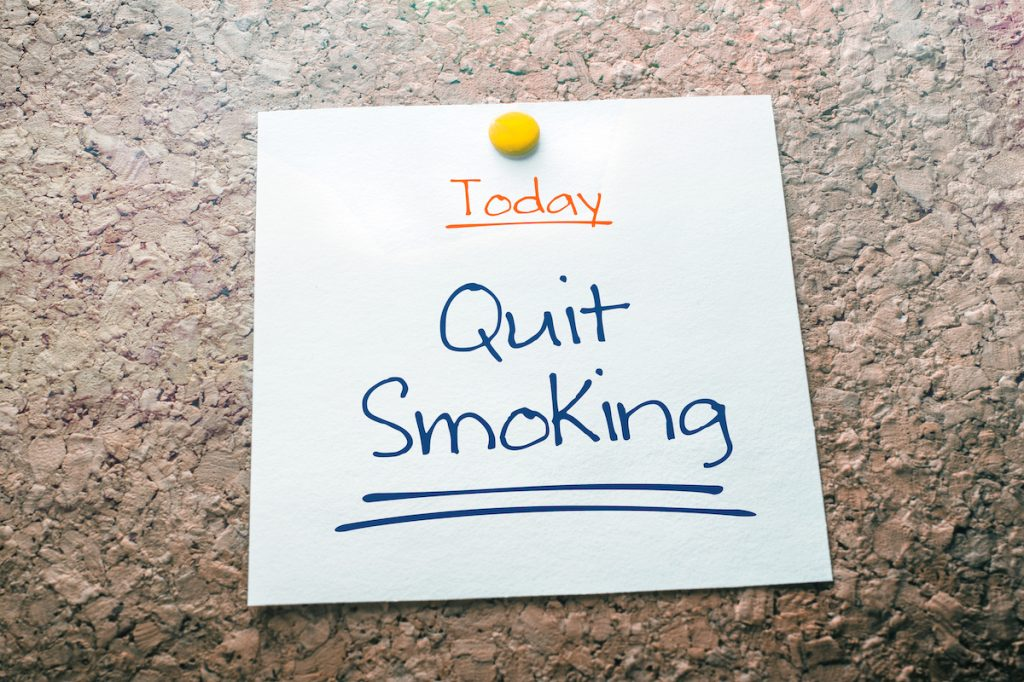 Note to quit smoking today