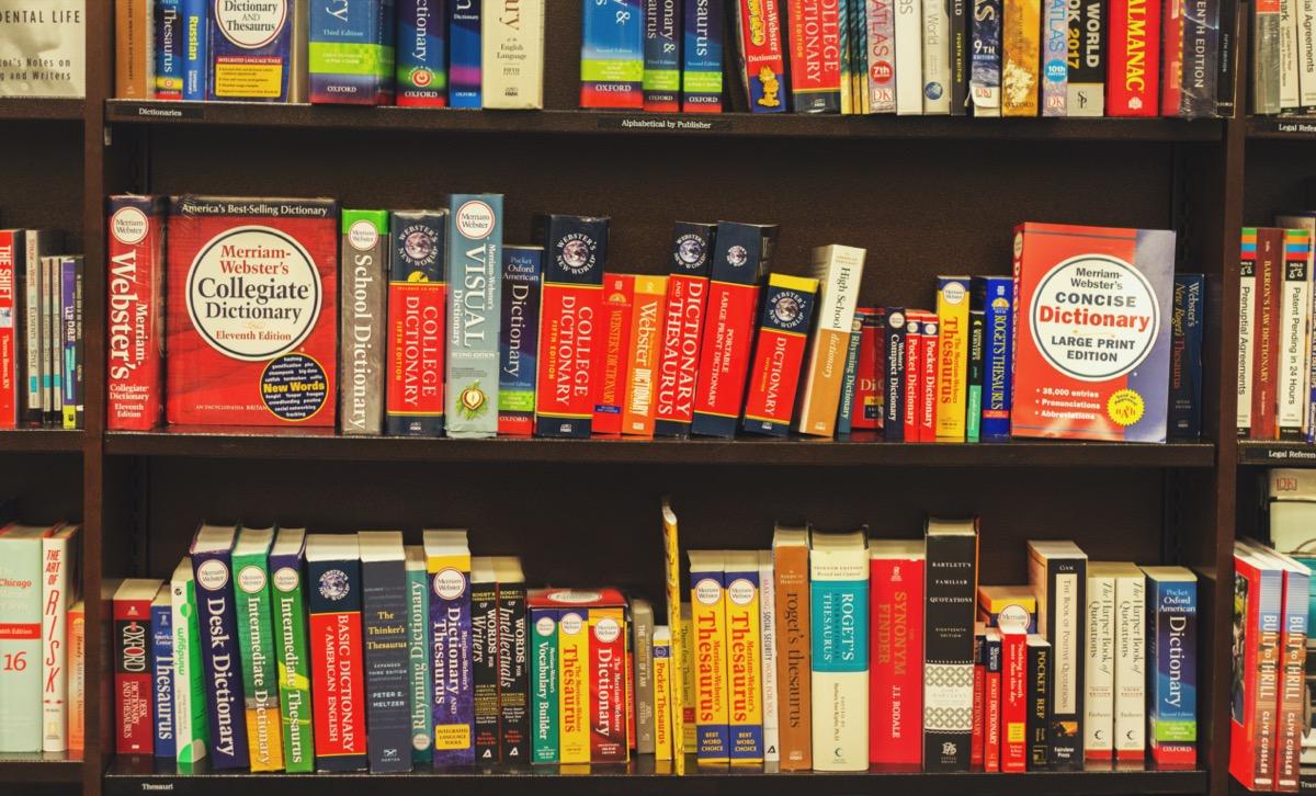 Shelves of dictionaries