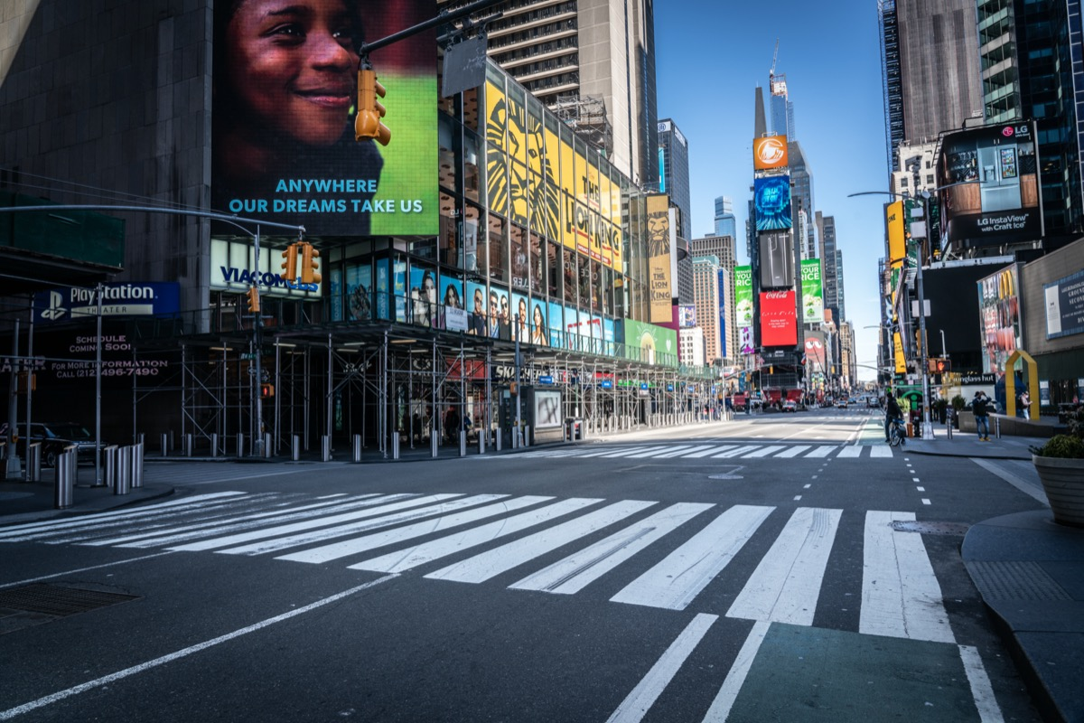 New York Times Square empty