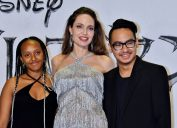 "Zahara Jolie-Pitt, Angelina Jolie, and Maddox Jolie-Pitt at the premiere of ""Maleficent: Mistress of Evil"" in Japan in 2019"
