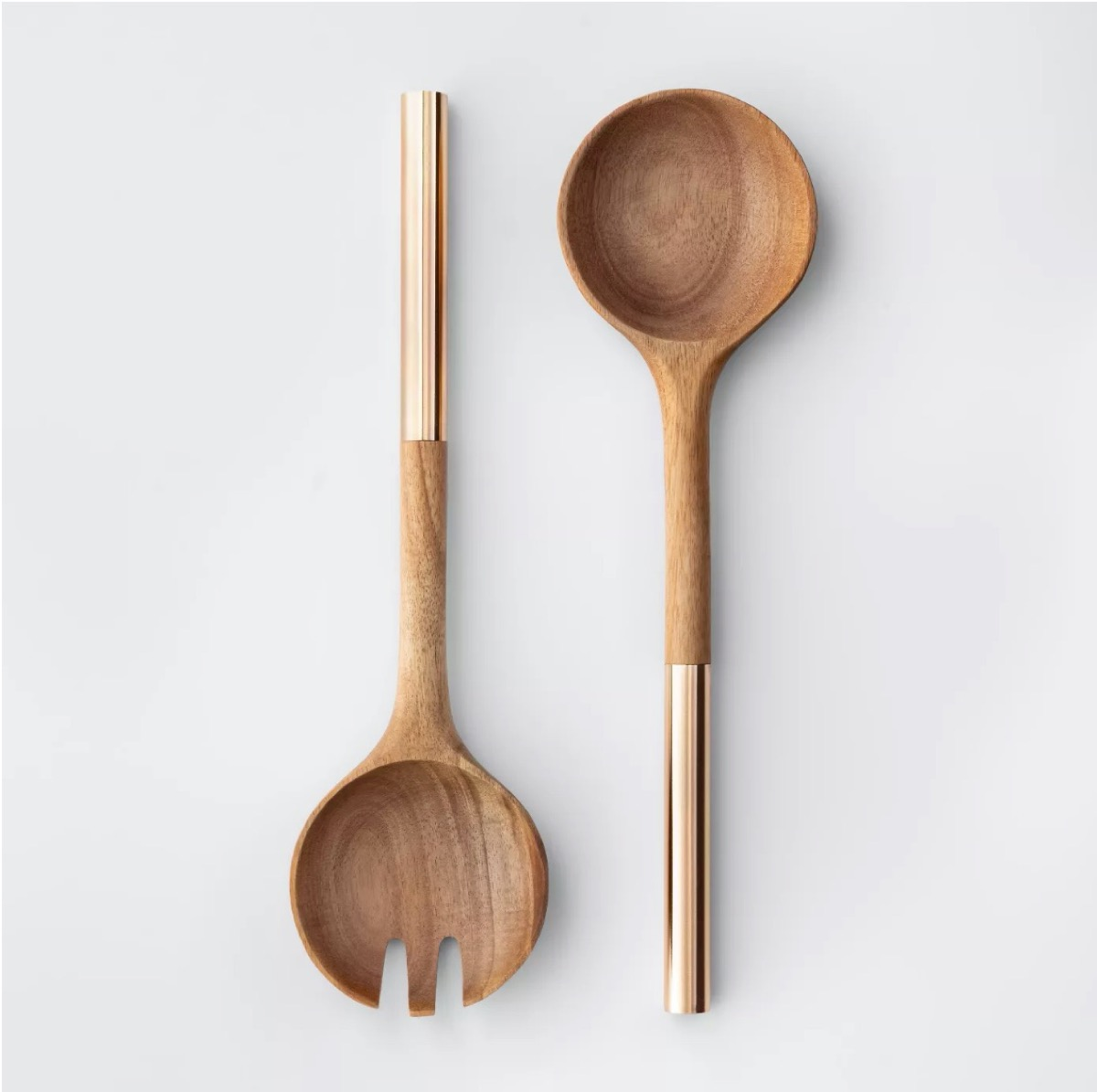 wooden salad tongs with gold handles