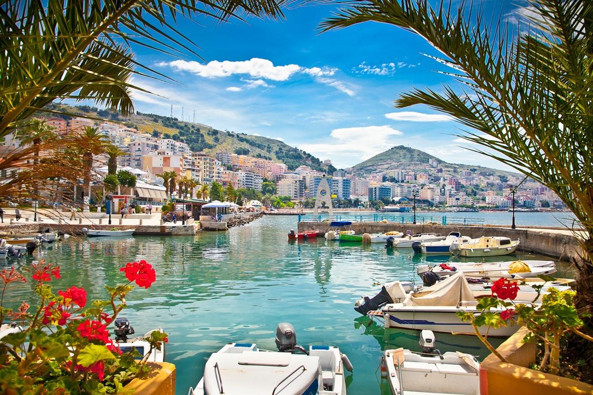 Saranda city port in Albania
