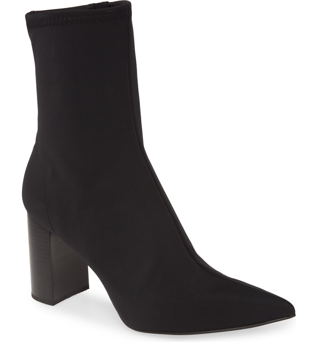 black neoprene ankle boots with pointed toe