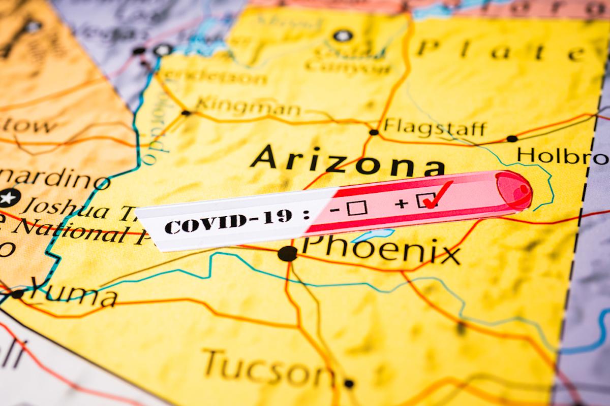 arizona map shows covid outbreak