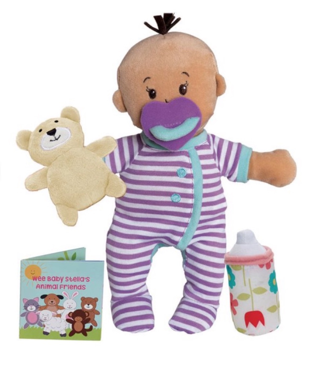 soft baby doll and accessories