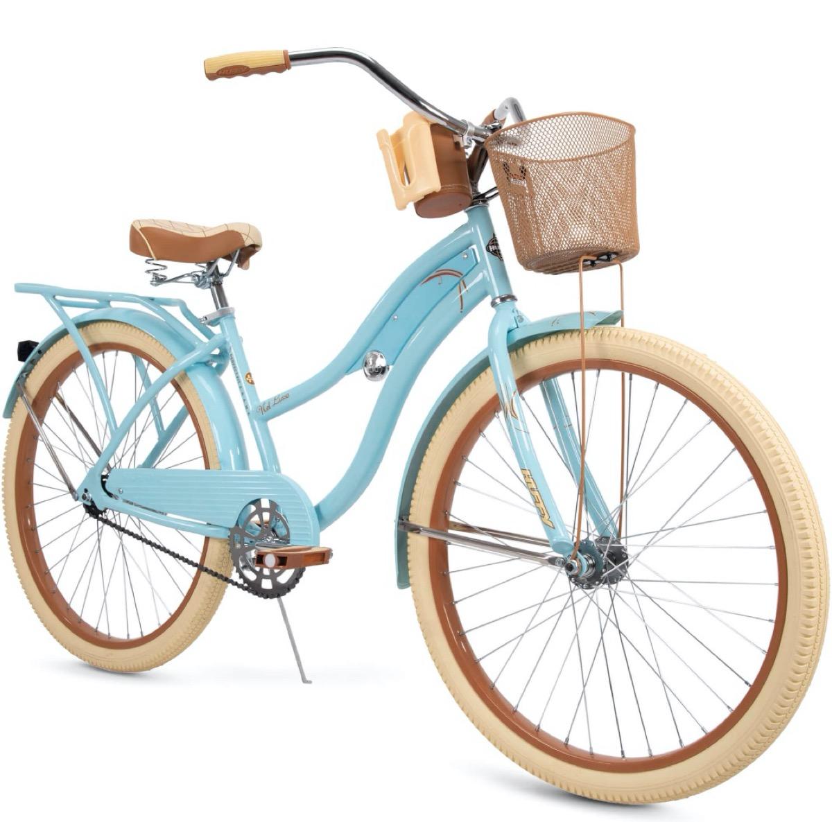 blue beach cruiser bicycle