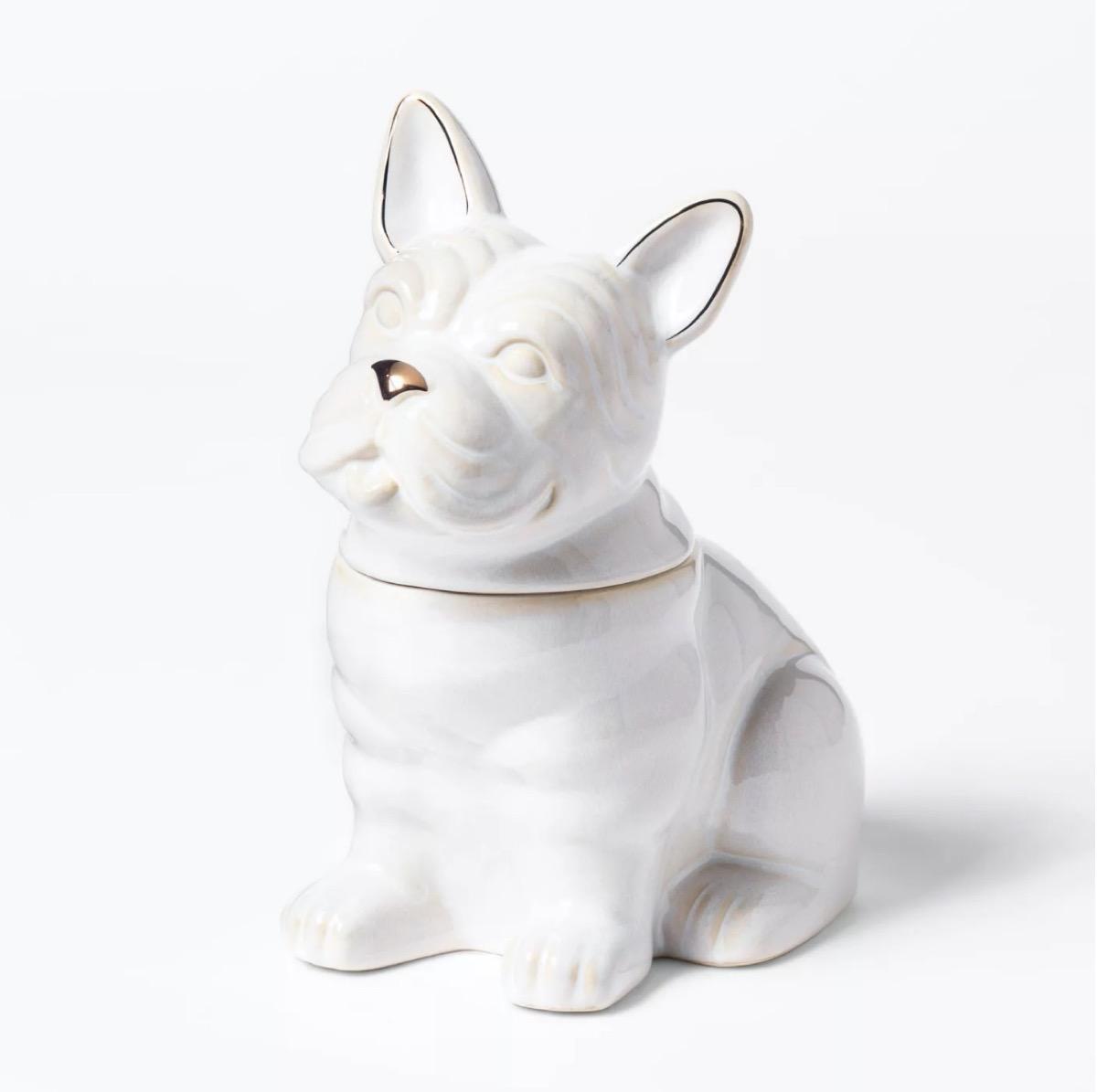 white ceramic cookie jar in the shape of a bulldog