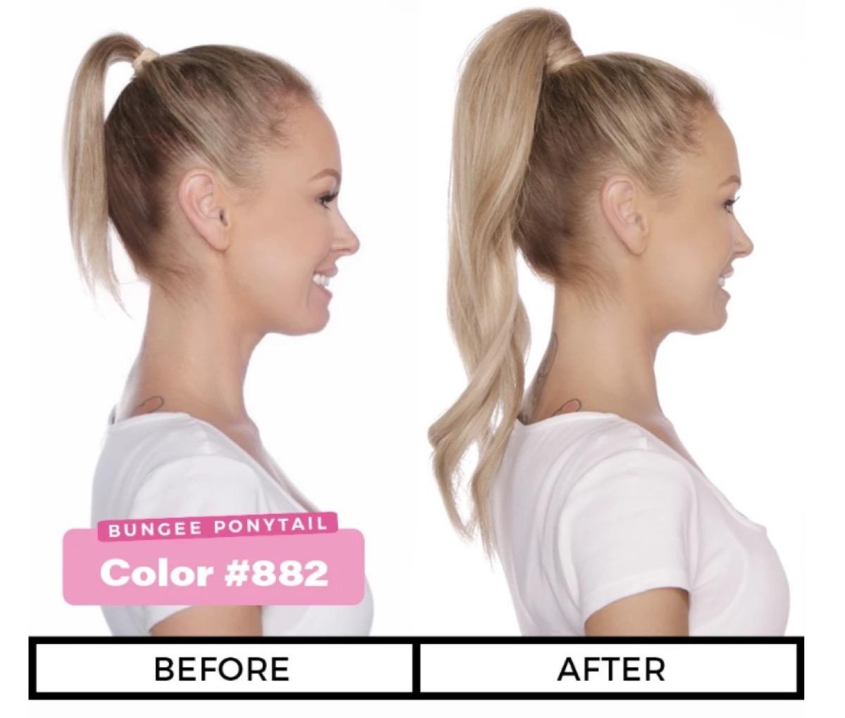 blonde woman wearing fake ponytail