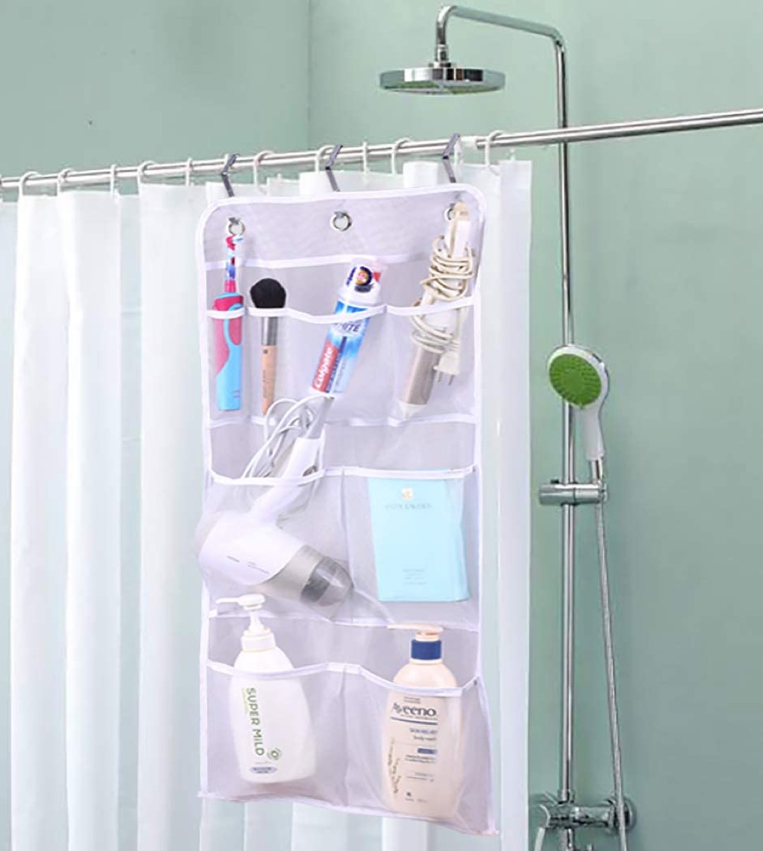 small shower curtain with pockets