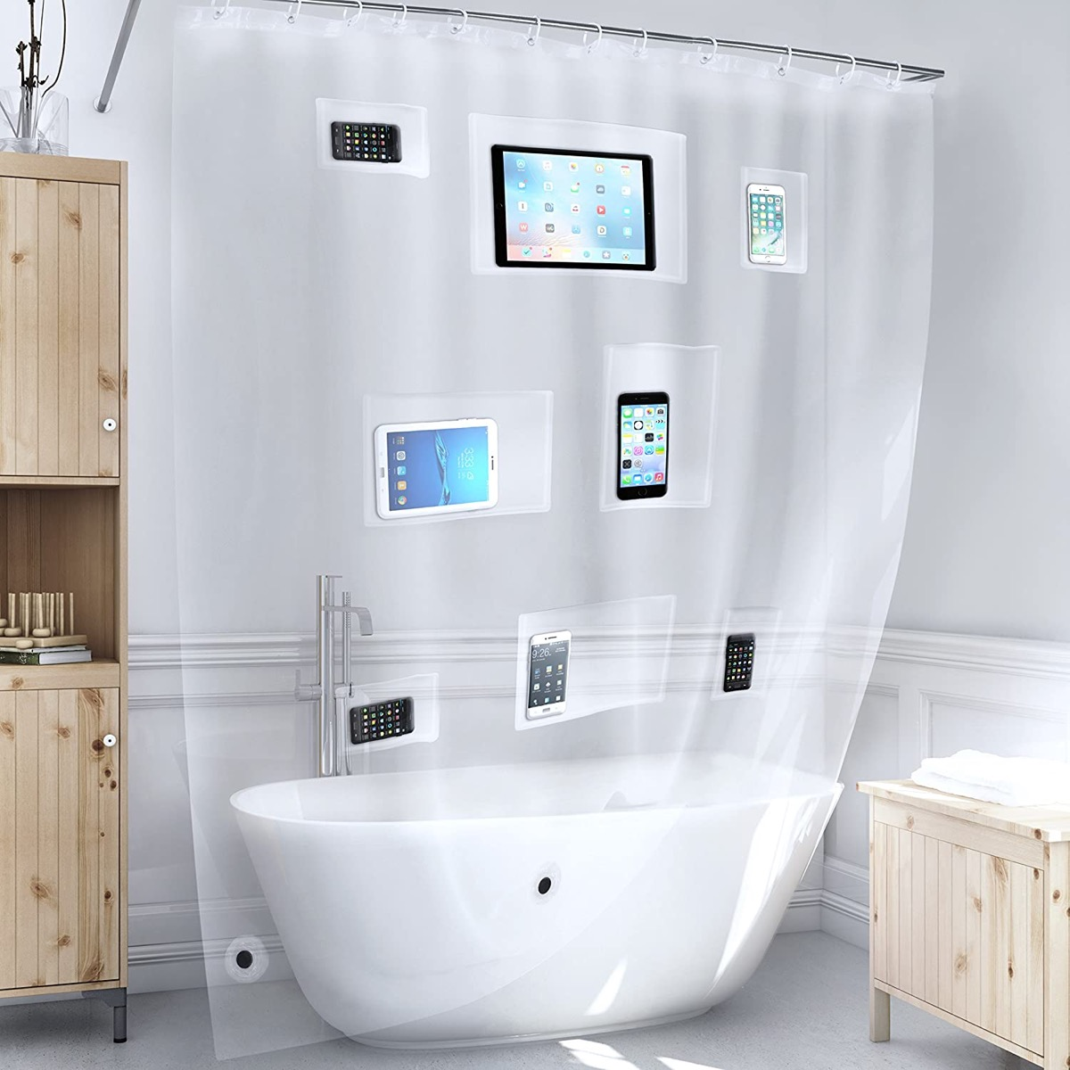 clear shower curtain with pockets and ipads