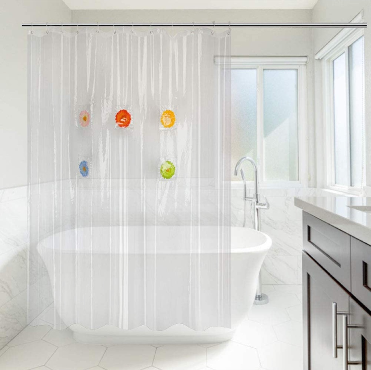 clear shower curtain with flowers