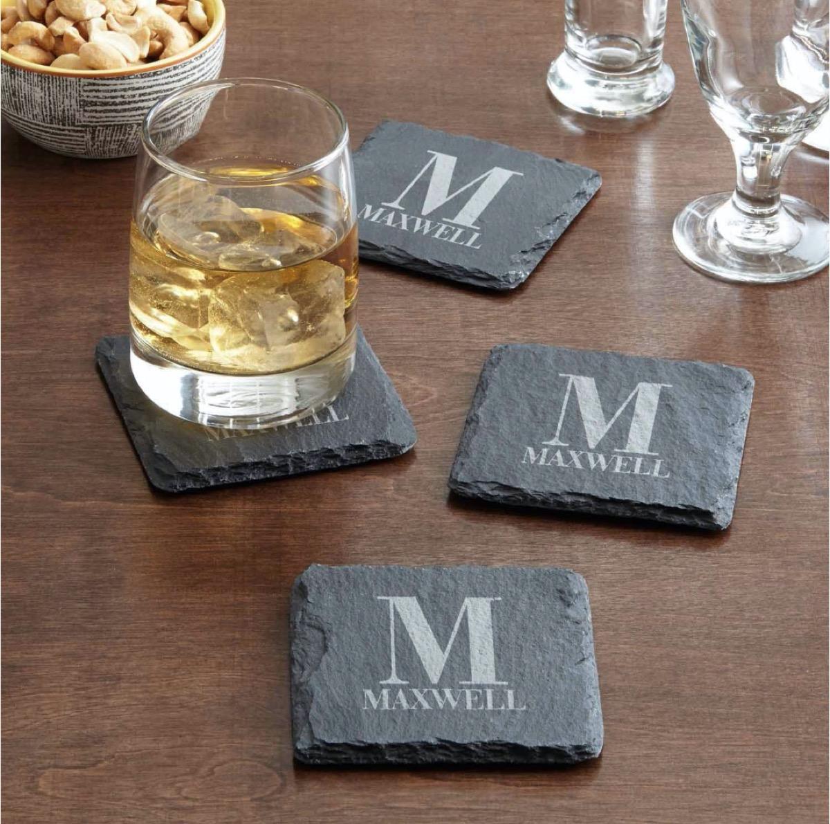gray slate coasters with M monogram