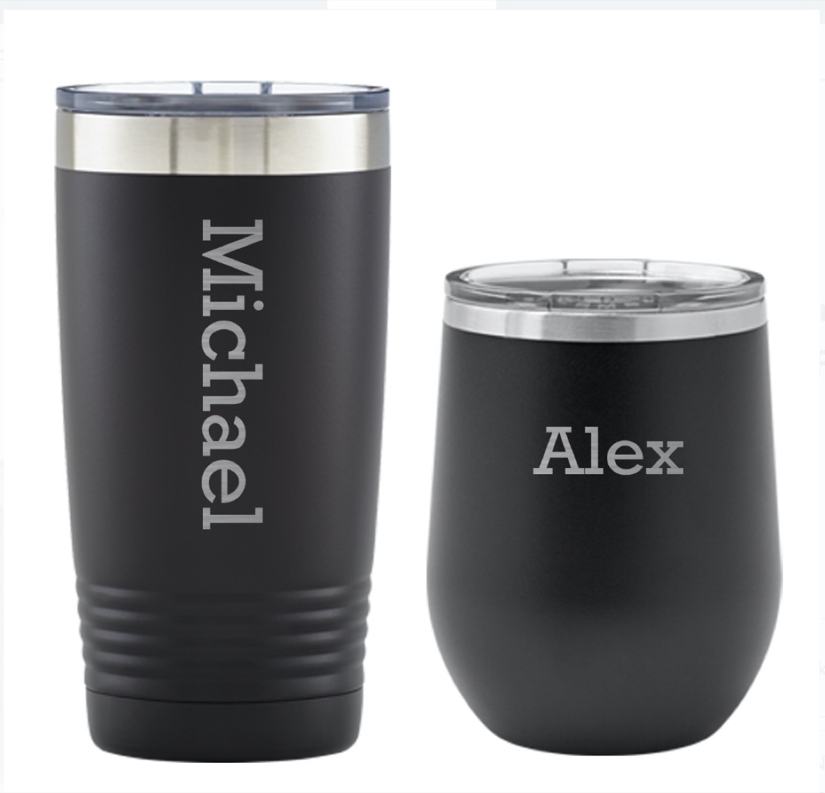 two black insulated tumbler cups with michael and alex on them in white font