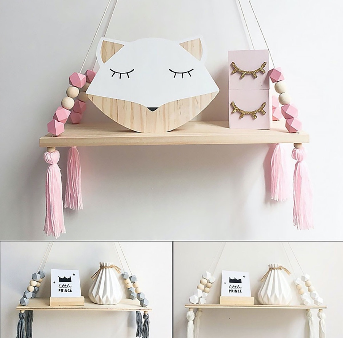wooden kids shelf with pink tassels