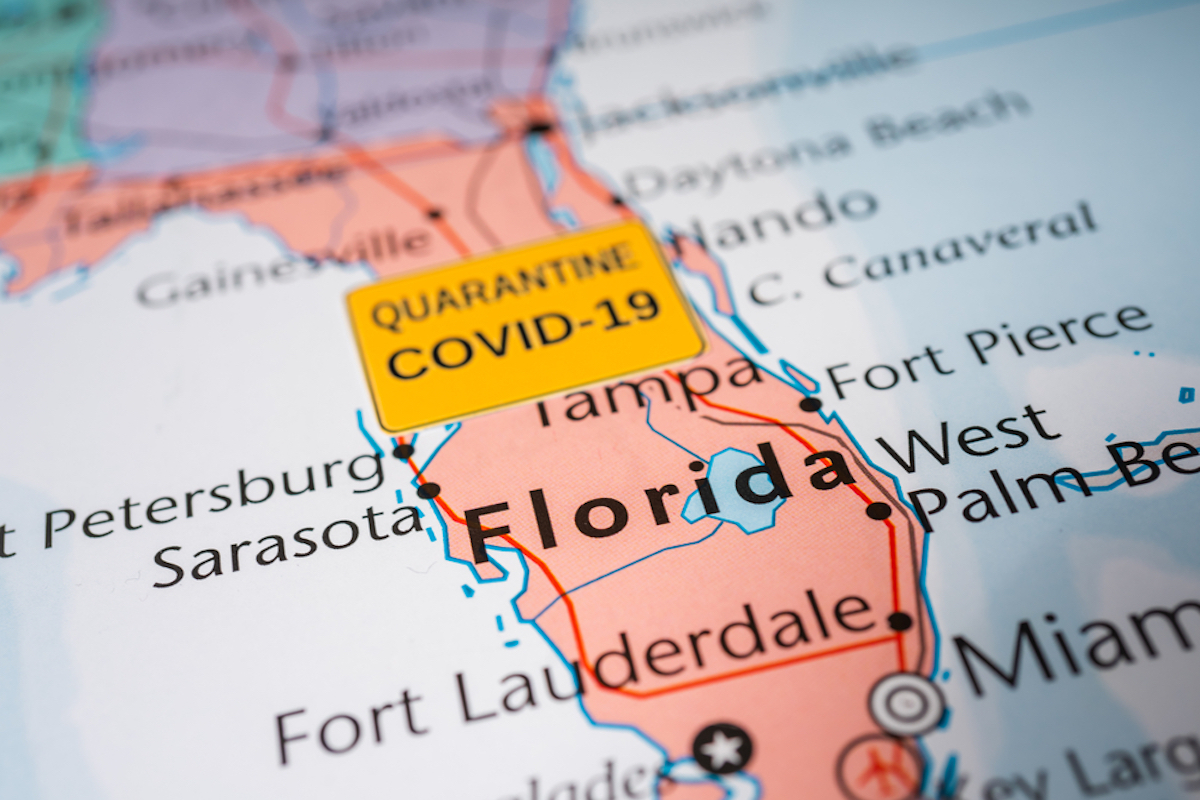 florida map shows covid outbreak
