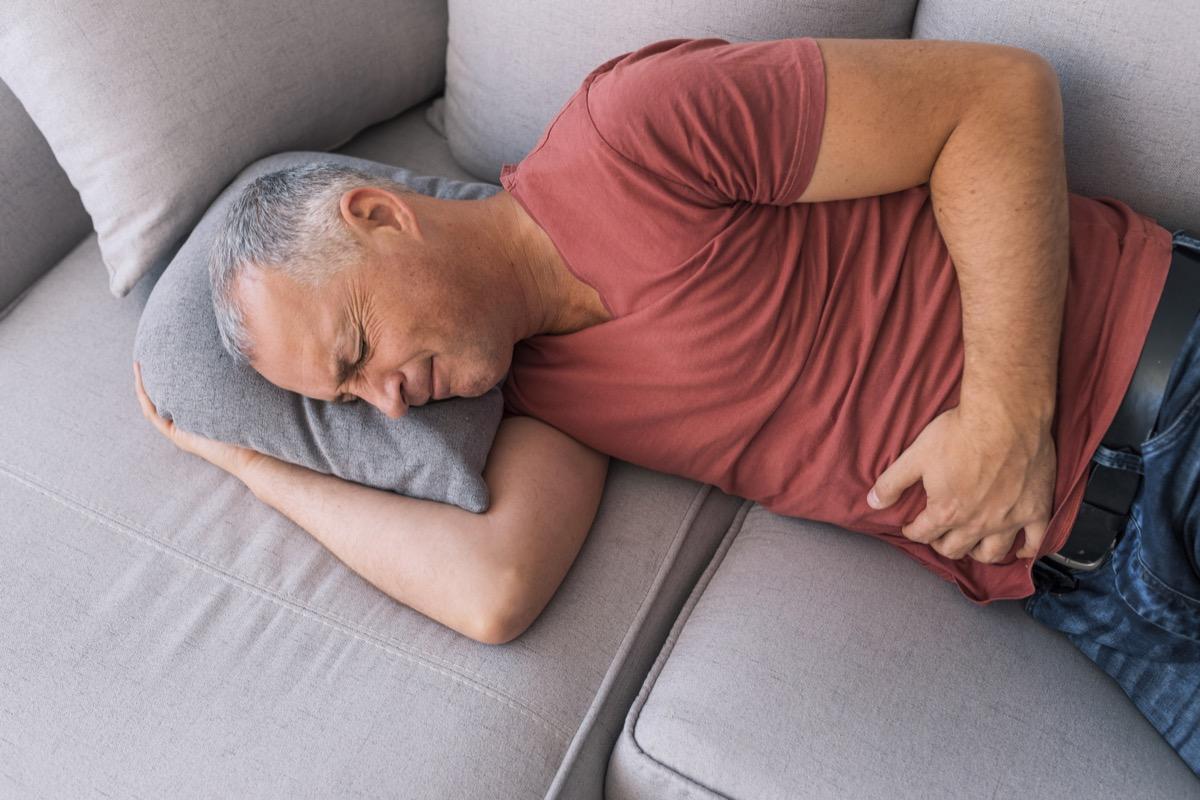 Senior man with stomach pain