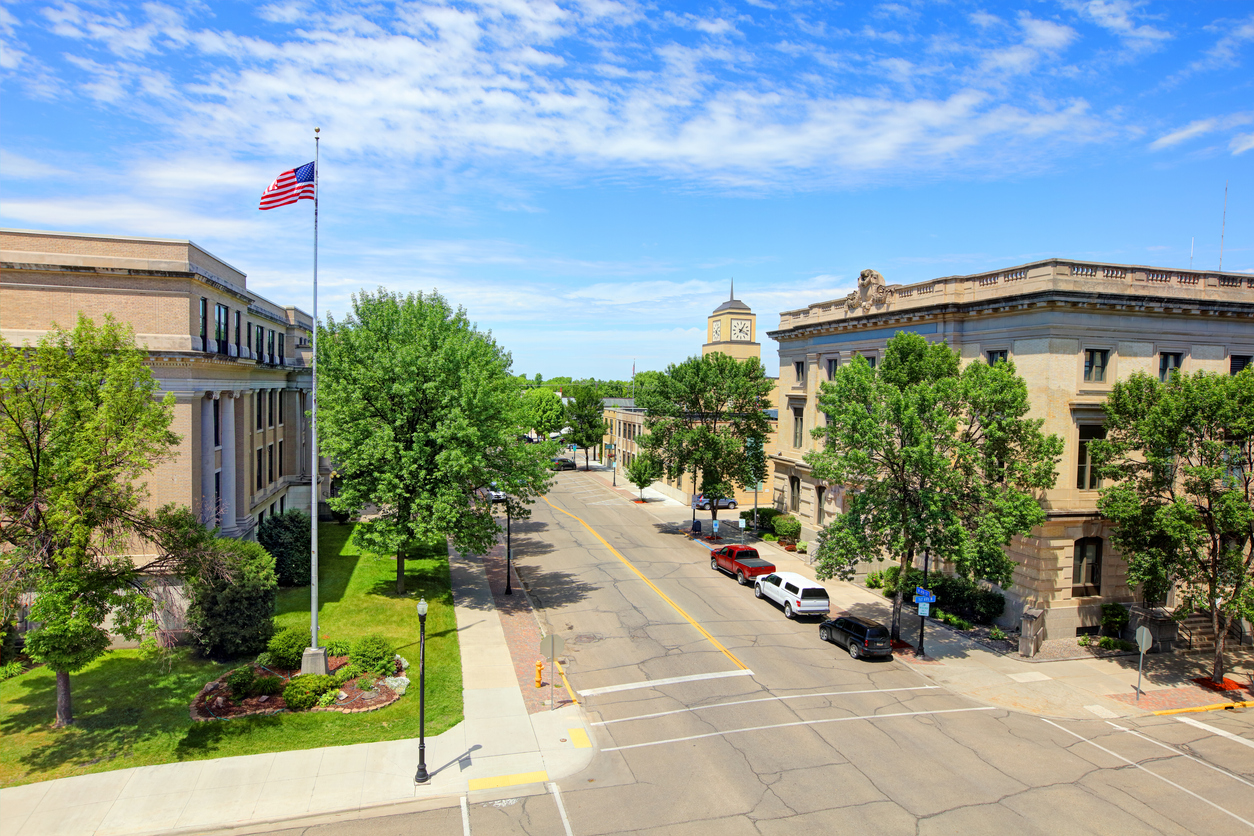 A view of buildings in Grand Forks, North Dakota