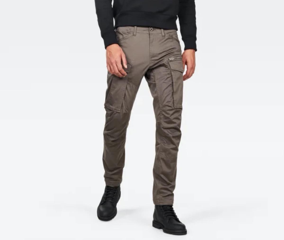 white guy in gray cargo pants