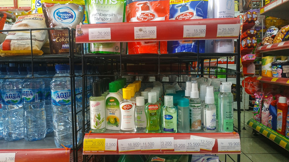Hand sanitizer on the shelf in a store