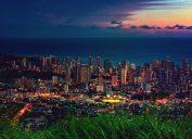 Cityscape of Honolulu city and Waikiki beach in night time at Tantalus lookout , Honolulu, Oahu island, Hawaii