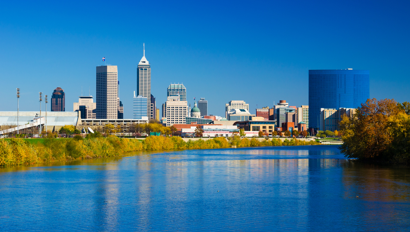 The skyline of Indianapolis, Indiana from the White River