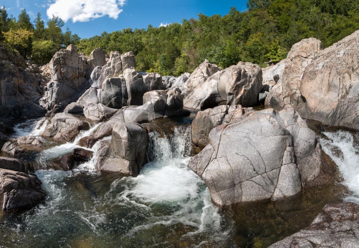 waterfall through boulders in missouri