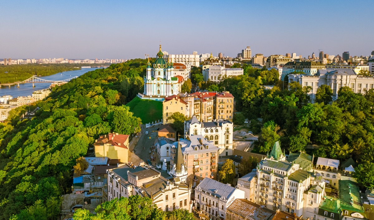 aerial skyline view of kiev in ukraine