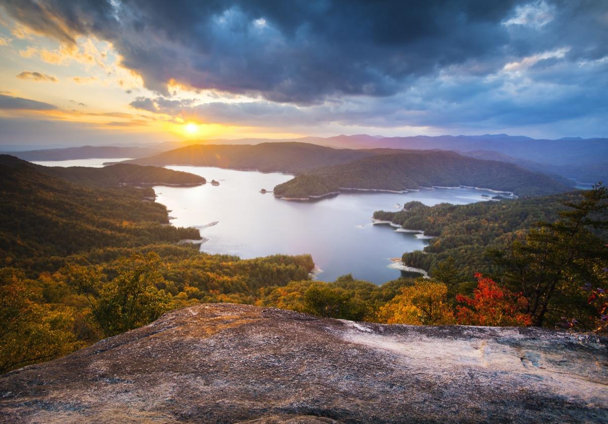 lake jocassee at sunset