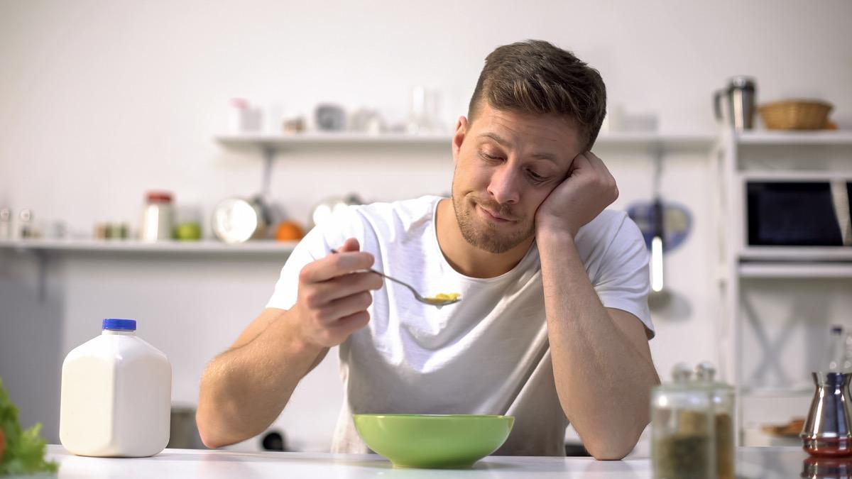 Man eating cereal lost his sense of taste