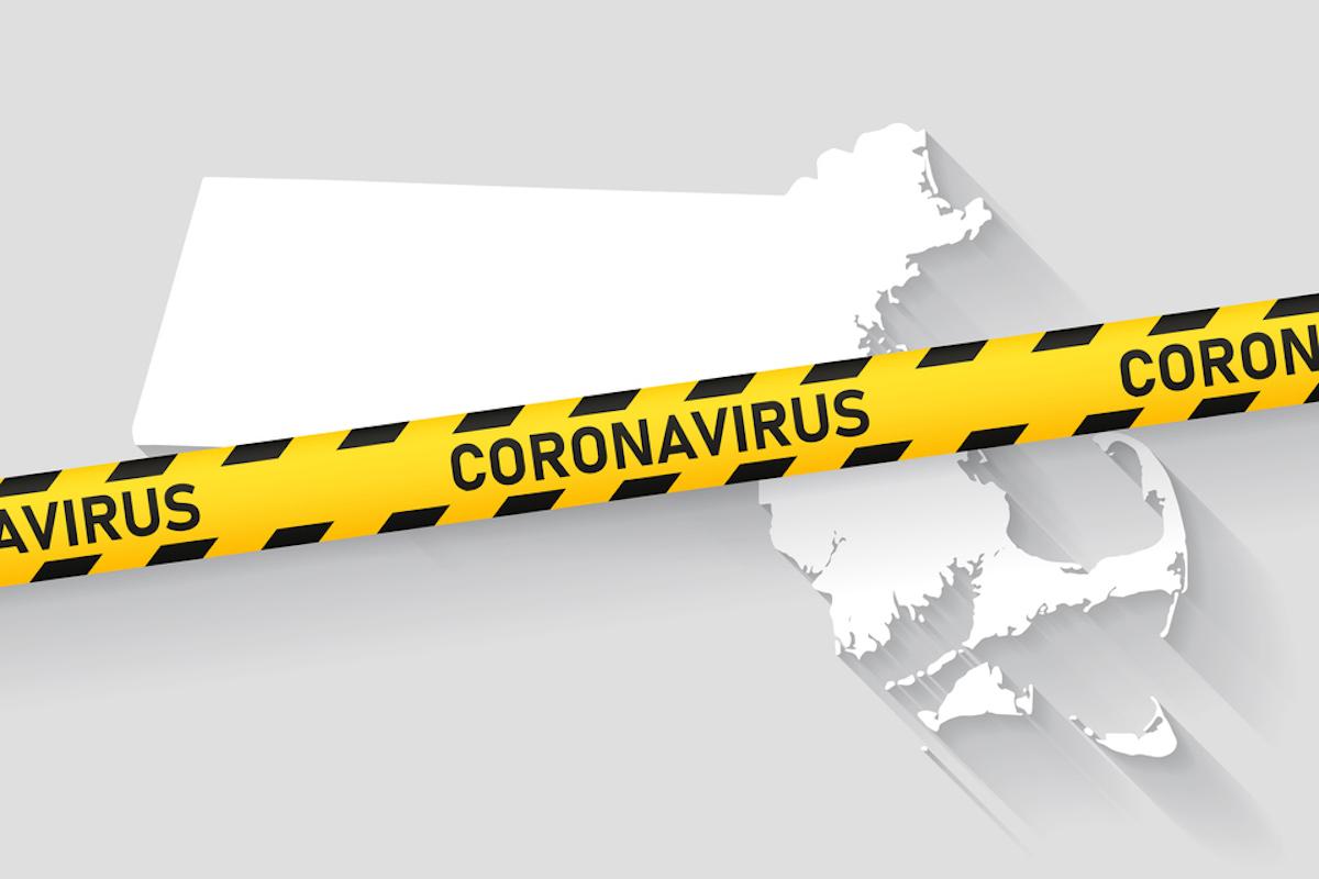 Map of Massachusetts with a coronavirus warning tape