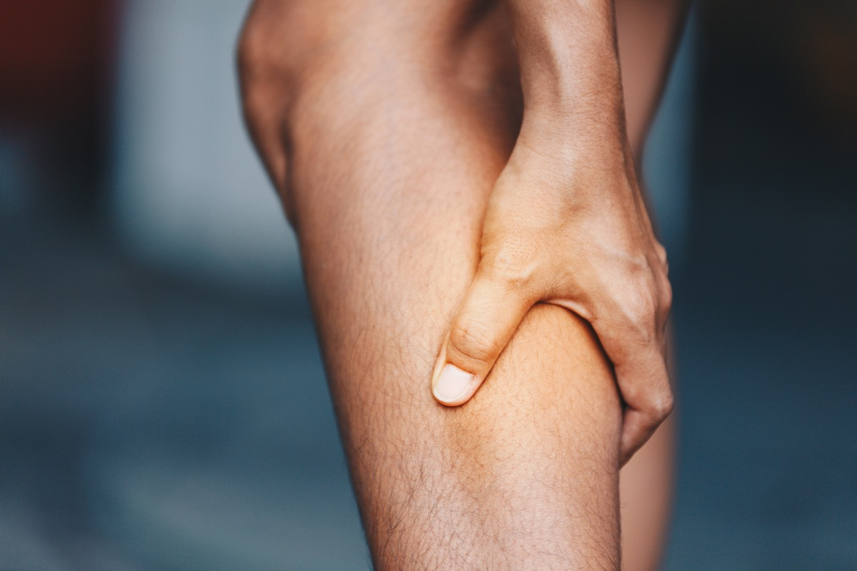Calf muscle twitching in pain