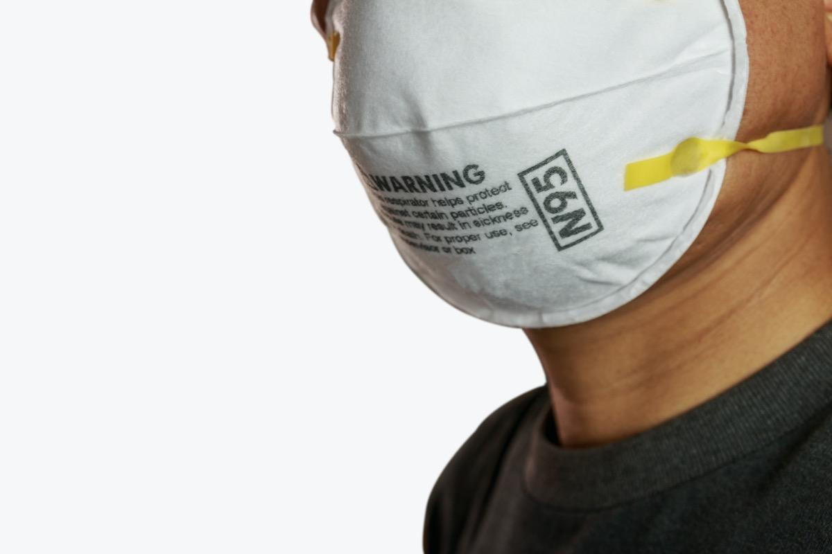 n95 mask on man