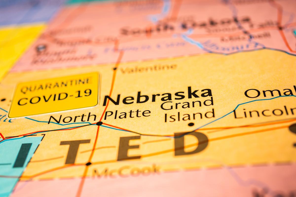 nebraska shown as coronavirus hotspot on u.s. map