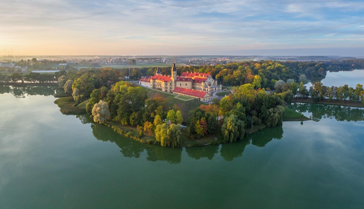 aerial view of nesvizh castle in belarus
