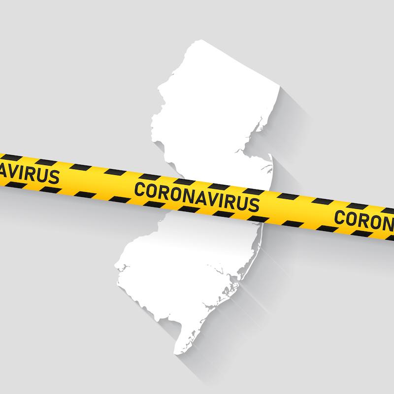 Map of New Jersey with a coronavirus warning tape