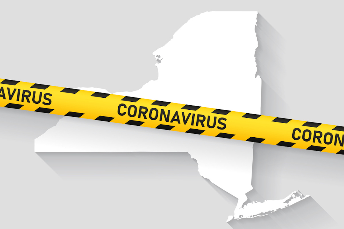 Map of New York with a coronavirus warning tape
