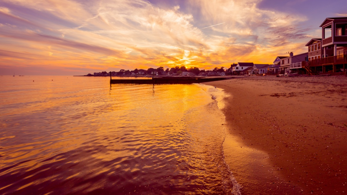 sunset at old saybrook town beach in connecticut