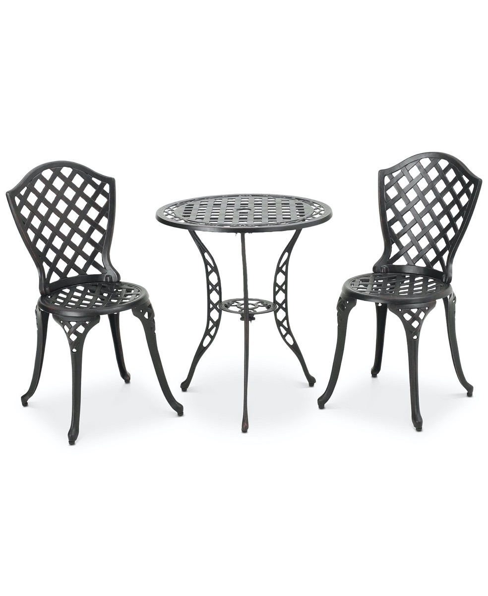 two metal garden chairs and bistro table
