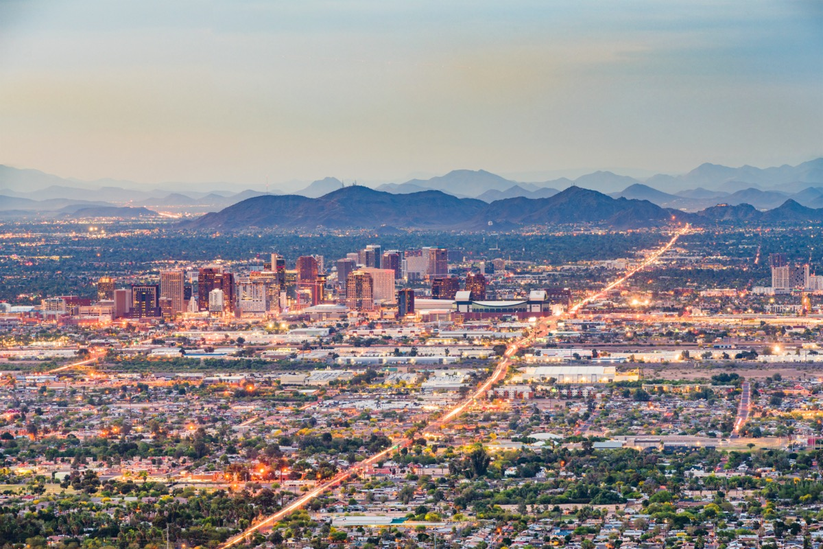 Phoenix, Arizona, downtown cityscape from above at dusk.