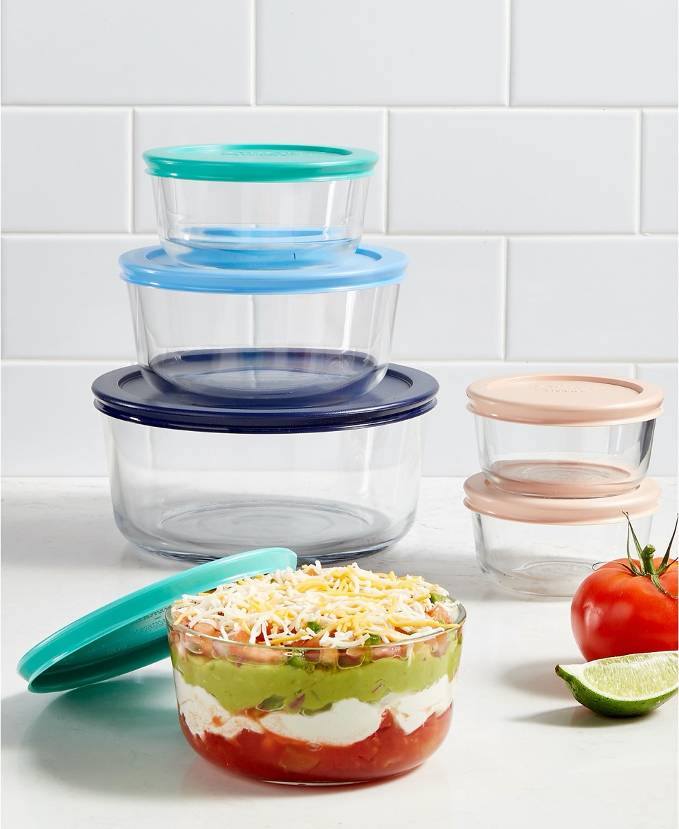set of pyrex bowls with colorful tops