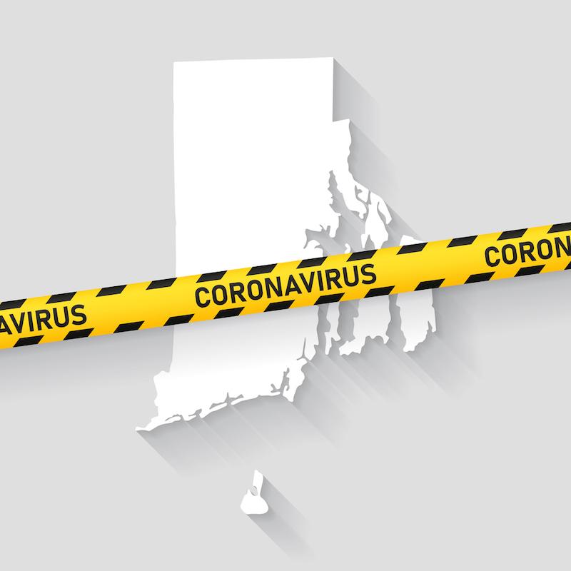 Map of Rhode Island with a coronavirus warning tape