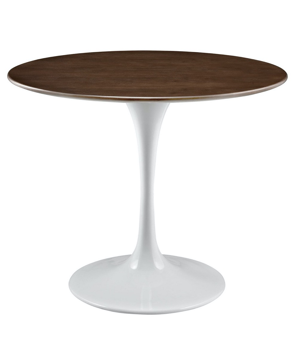 round dining table with white base and brown top