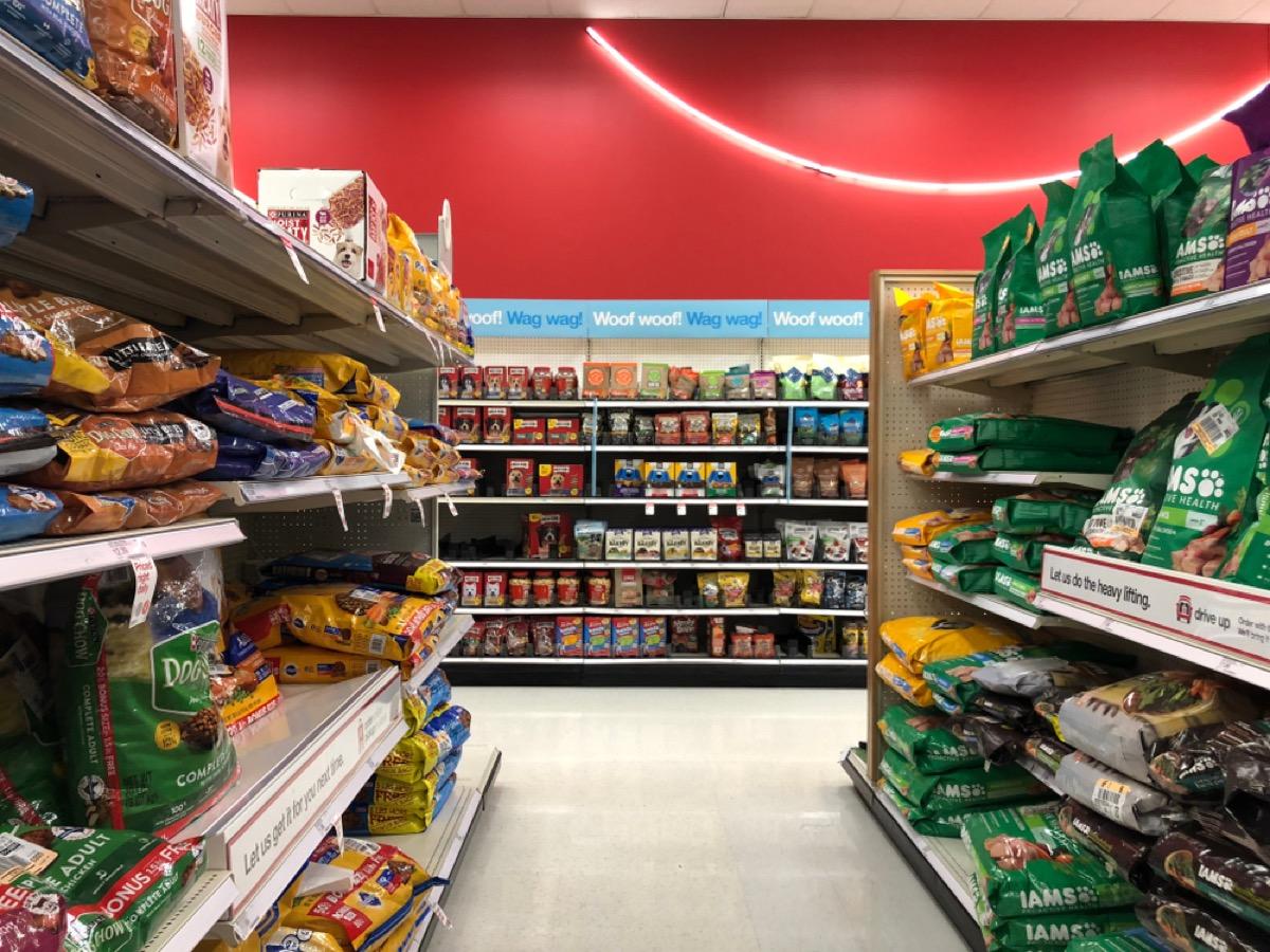 pet food aisle at target