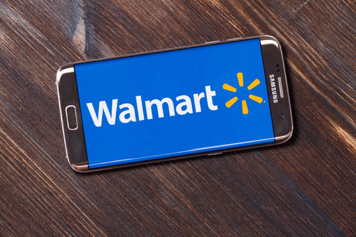 smartphone with walmart logo on screen
