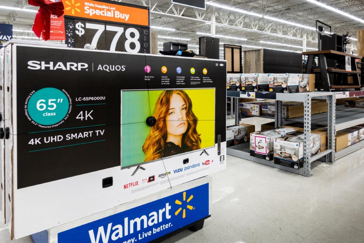 tv set on display at walmart